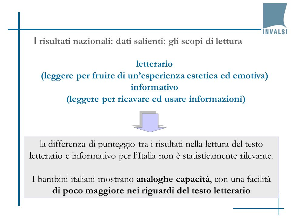 I risultati nazionali: dati salienti: gli scopi di lettura