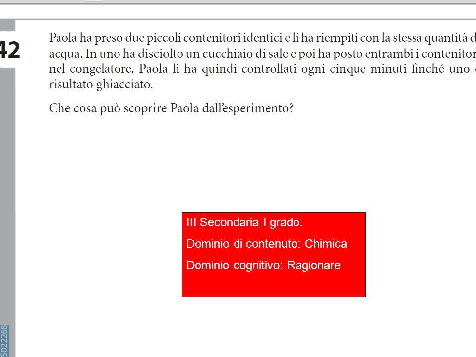 III Secondaria I grado. Dominio di contenuto: Chimica Dominio cognitivo: Ragionare
