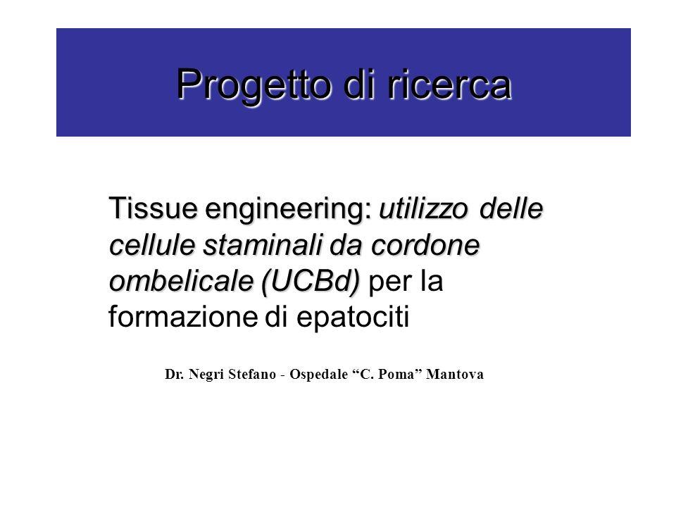 Progetto di ricerca Tissue engineering: utilizzo delle cellule staminali da cordone ombelicale (UCBd) per la formazione di epatociti.