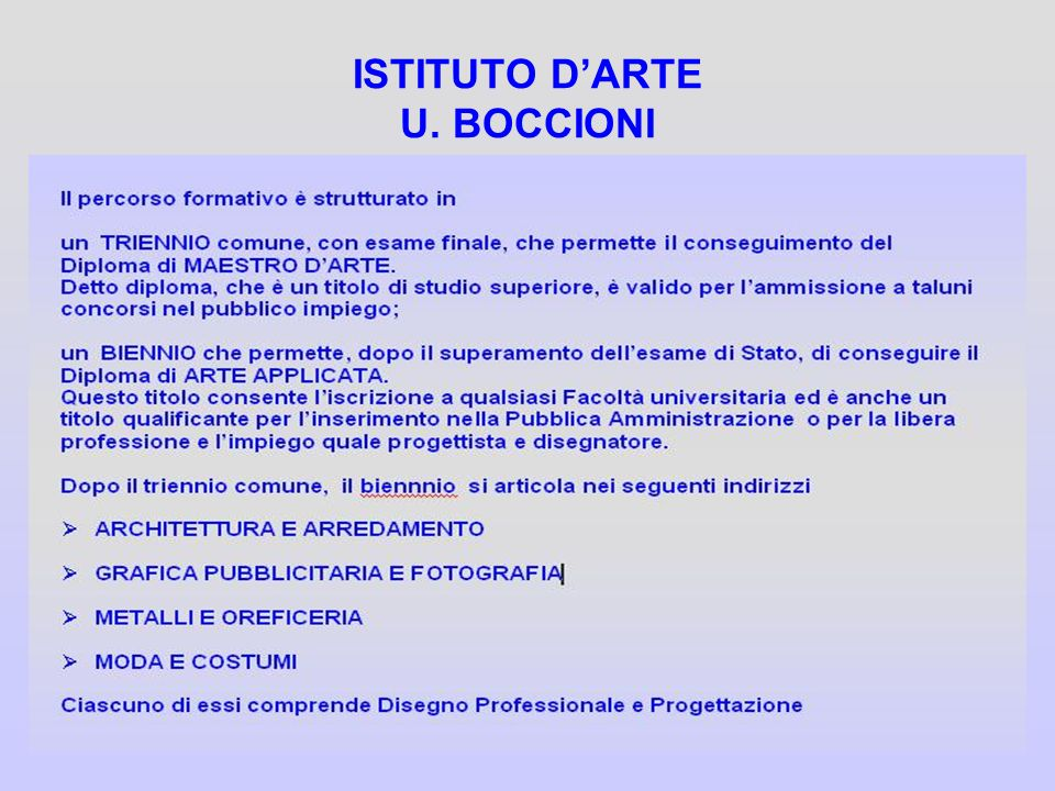 ISTITUTO D'ARTE U. BOCCIONI