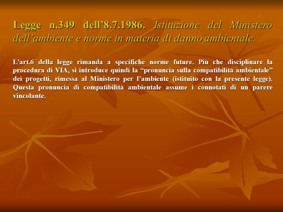 Legge n.349 dell'8.7.1986. Istituzione del Ministero dell'ambiente e norme in materia di danno ambientale.
