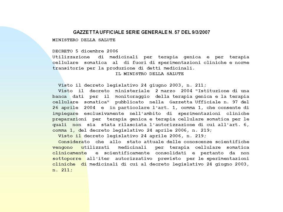 GAZZETTA UFFICIALE SERIE GENERALE N. 57 DEL 9/3/2007