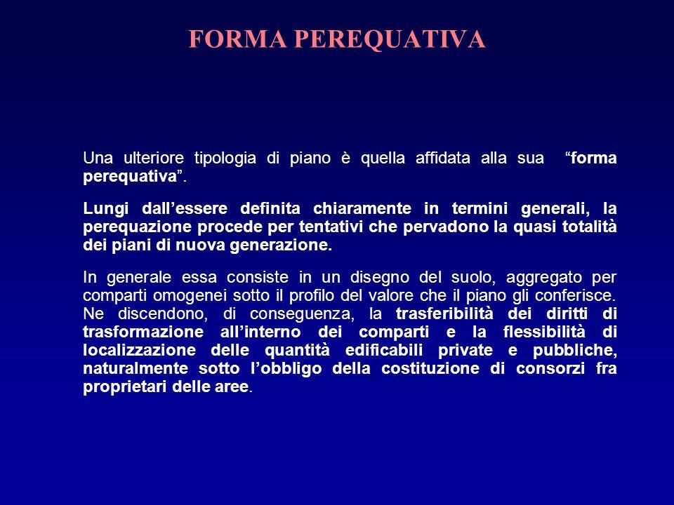 FORMA PEREQUATIVA Una ulteriore tipologia di piano è quella affidata alla sua forma perequativa .