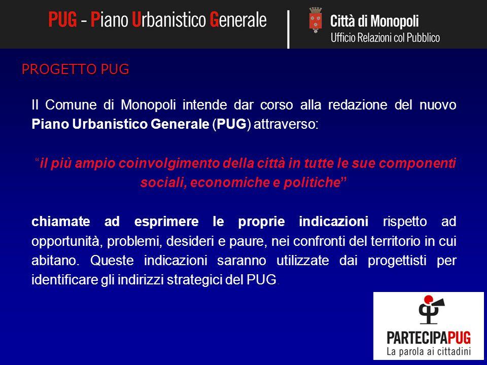 PROGETTO PUG Il Comune di Monopoli intende dar corso alla redazione del nuovo Piano Urbanistico Generale (PUG) attraverso: