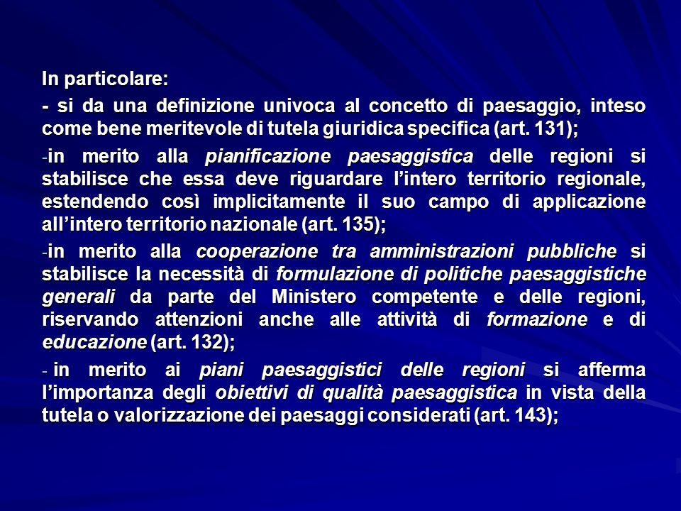 In particolare: - si da una definizione univoca al concetto di paesaggio, inteso come bene meritevole di tutela giuridica specifica (art. 131);