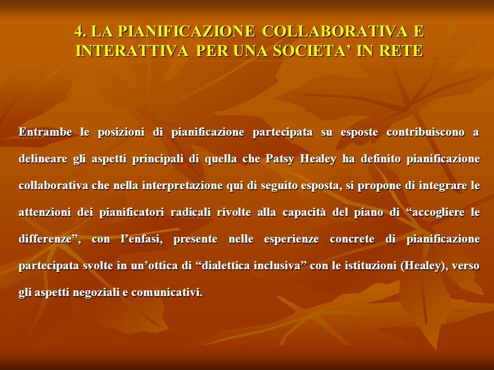 4. LA PIANIFICAZIONE COLLABORATIVA E INTERATTIVA PER UNA SOCIETA' IN RETE