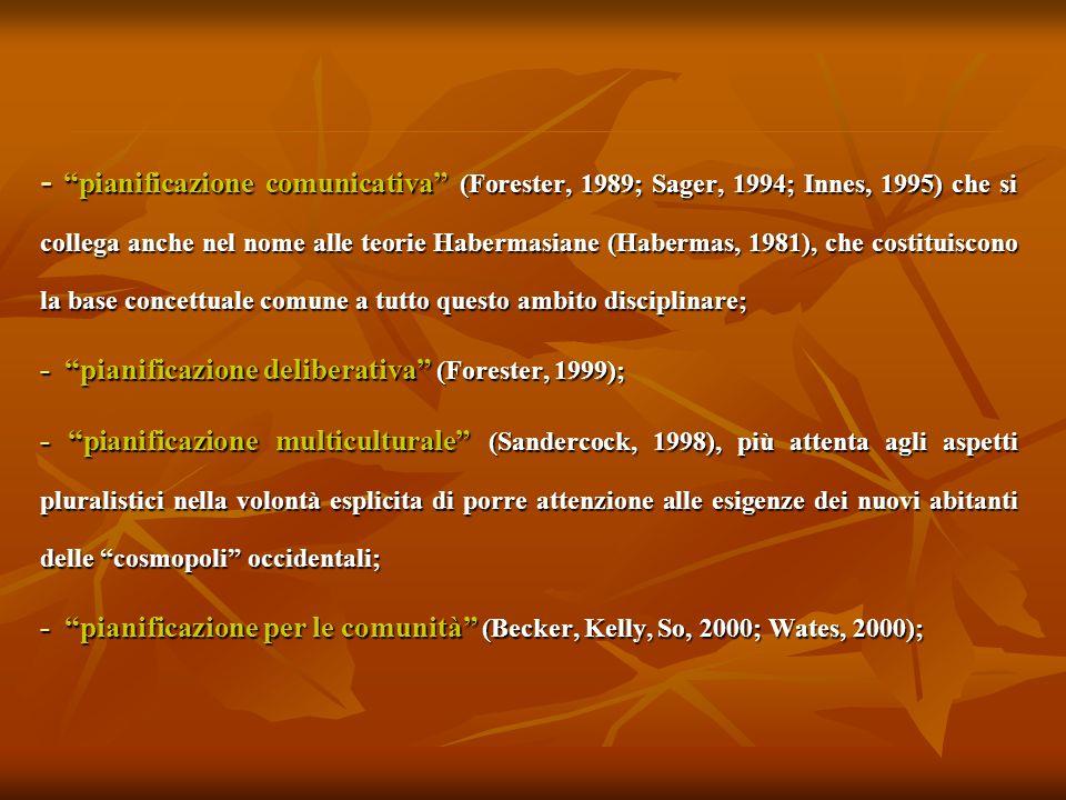 - pianificazione comunicativa (Forester, 1989; Sager, 1994; Innes, 1995) che si collega anche nel nome alle teorie Habermasiane (Habermas, 1981), che costituiscono la base concettuale comune a tutto questo ambito disciplinare;