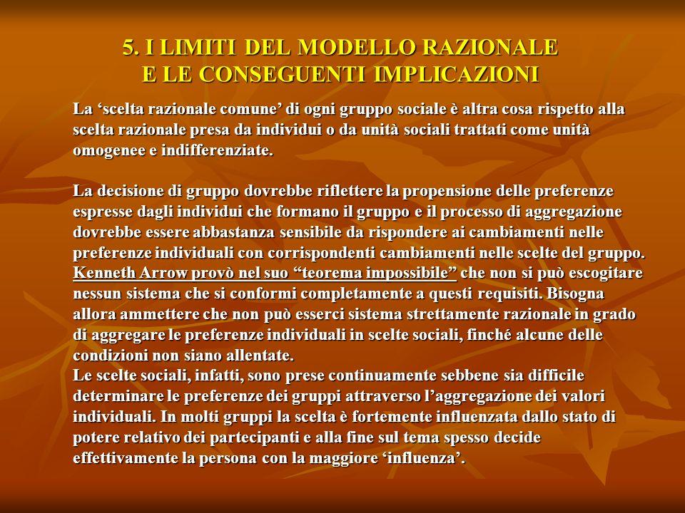 5. I LIMITI DEL MODELLO RAZIONALE E LE CONSEGUENTI IMPLICAZIONI