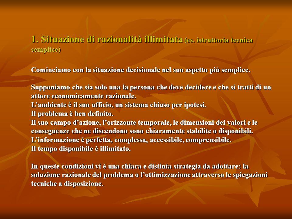 1. Situazione di razionalità illimitata (es