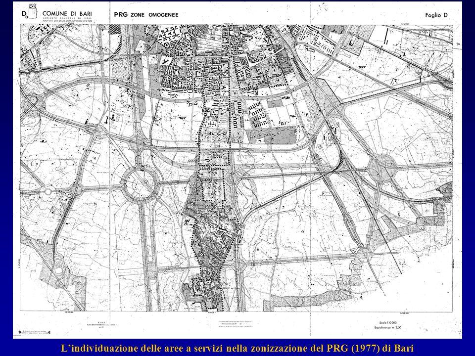 L'individuazione delle aree a servizi nella zonizzazione del PRG (1977) di Bari