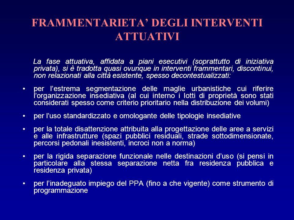 FRAMMENTARIETA' DEGLI INTERVENTI ATTUATIVI