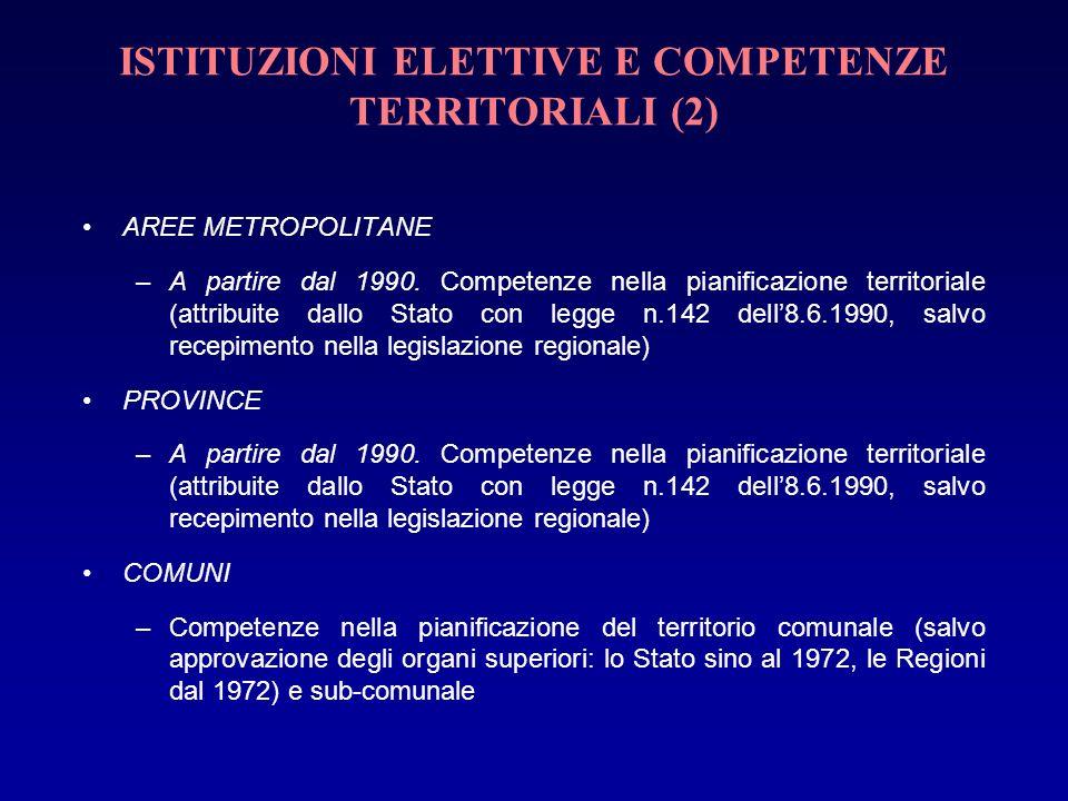 ISTITUZIONI ELETTIVE E COMPETENZE TERRITORIALI (2)