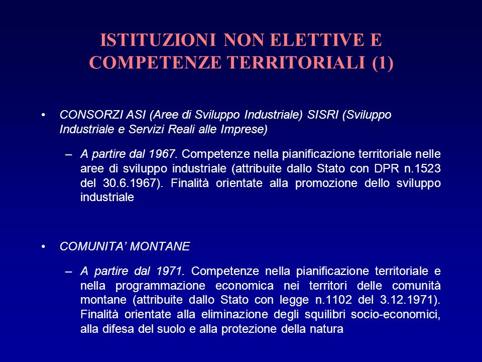 ISTITUZIONI NON ELETTIVE E COMPETENZE TERRITORIALI (1)