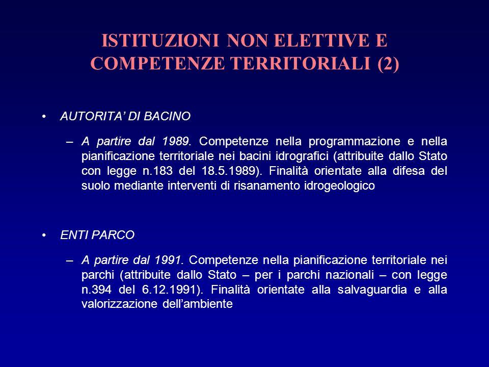 ISTITUZIONI NON ELETTIVE E COMPETENZE TERRITORIALI (2)