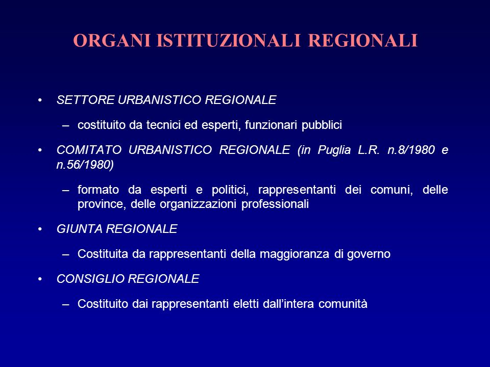 ORGANI ISTITUZIONALI REGIONALI