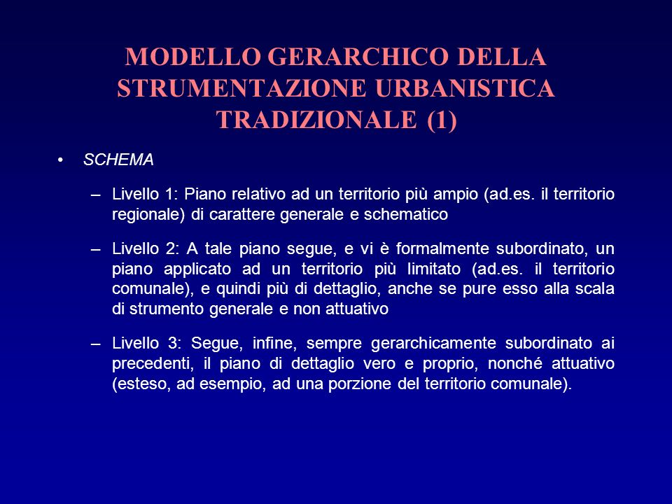 MODELLO GERARCHICO DELLA STRUMENTAZIONE URBANISTICA TRADIZIONALE (1)