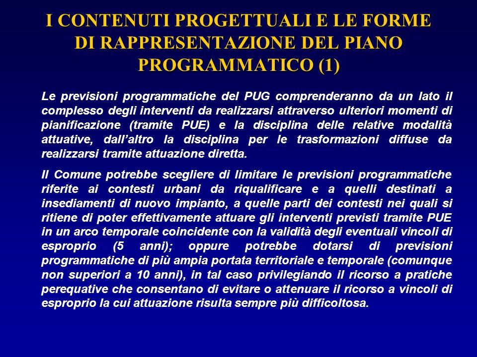 I CONTENUTI PROGETTUALI E LE FORME DI RAPPRESENTAZIONE DEL PIANO PROGRAMMATICO (1)
