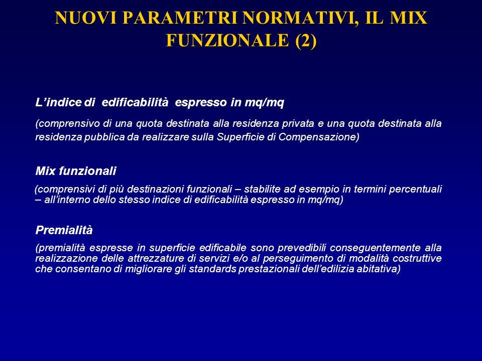 NUOVI PARAMETRI NORMATIVI, IL MIX FUNZIONALE (2)