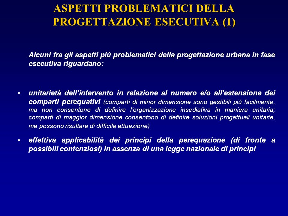 ASPETTI PROBLEMATICI DELLA PROGETTAZIONE ESECUTIVA (1)
