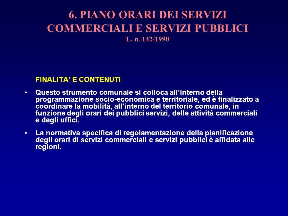 6. PIANO ORARI DEI SERVIZI COMMERCIALI E SERVIZI PUBBLICI L. n