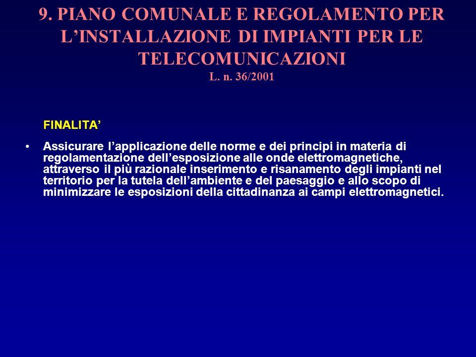 9. PIANO COMUNALE E REGOLAMENTO PER L'INSTALLAZIONE DI IMPIANTI PER LE TELECOMUNICAZIONI L. n. 36/2001