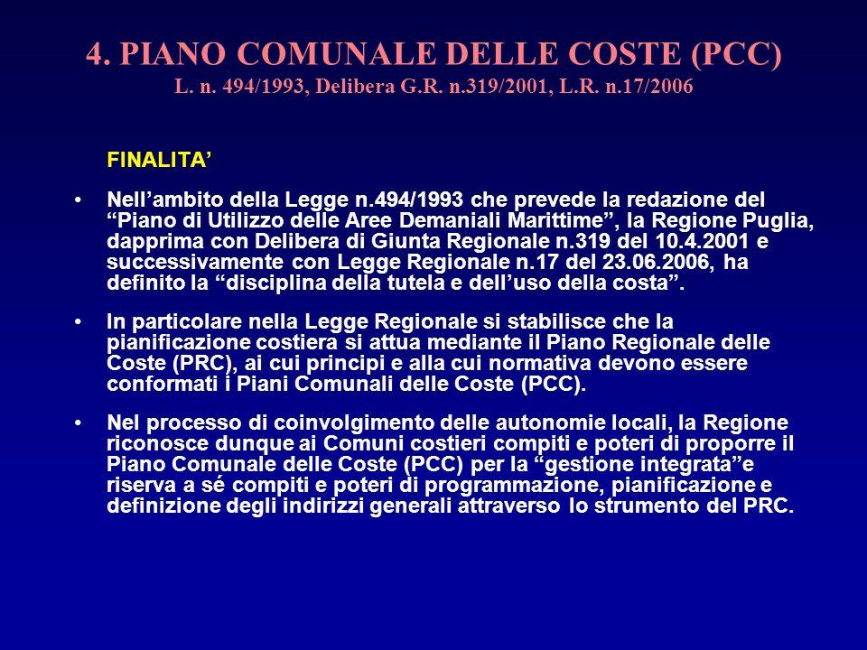 4. PIANO COMUNALE DELLE COSTE (PCC) L. n. 494/1993, Delibera G. R. n
