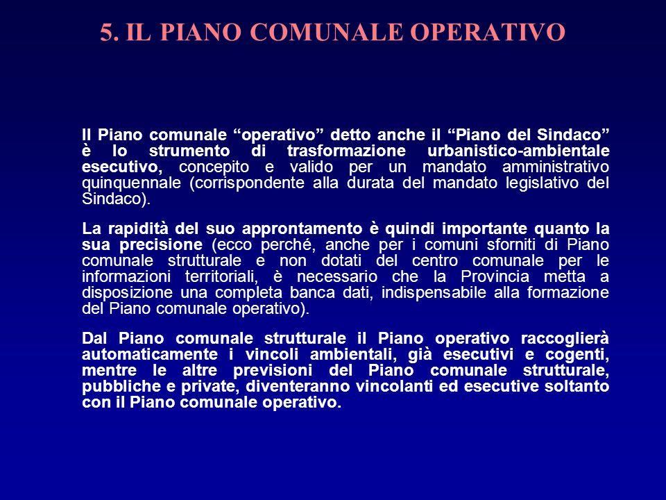 5. IL PIANO COMUNALE OPERATIVO