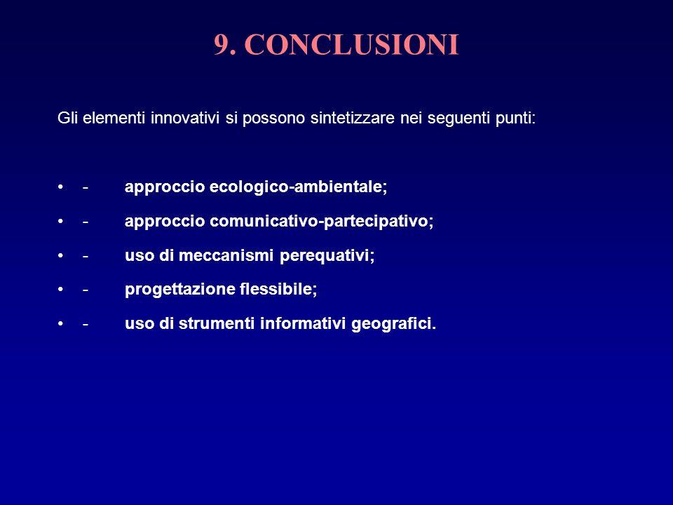 9. CONCLUSIONIGli elementi innovativi si possono sintetizzare nei seguenti punti: - approccio ecologico-ambientale;