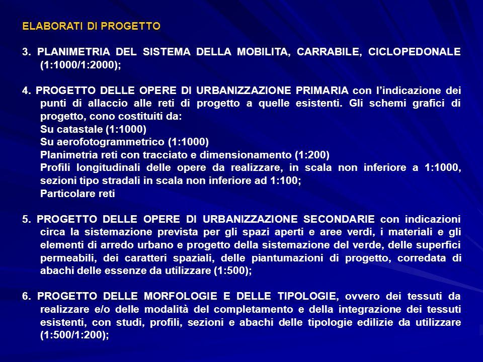 ELABORATI DI PROGETTO 3. PLANIMETRIA DEL SISTEMA DELLA MOBILITA, CARRABILE, CICLOPEDONALE (1:1000/1:2000);