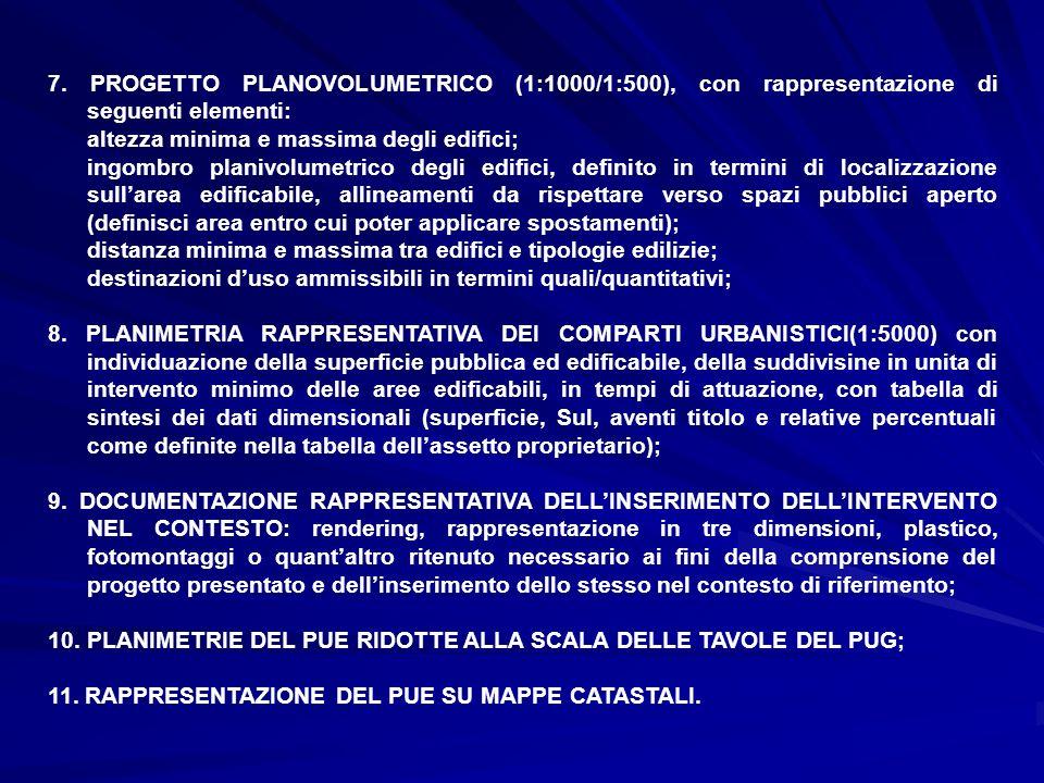7. PROGETTO PLANOVOLUMETRICO (1:1000/1:500), con rappresentazione di seguenti elementi: