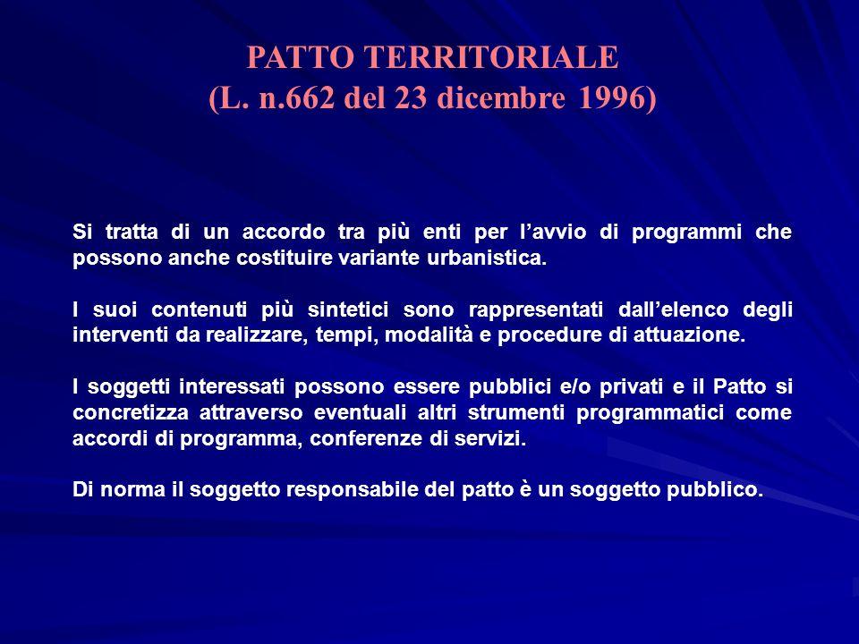 PATTO TERRITORIALE (L. n.662 del 23 dicembre 1996)