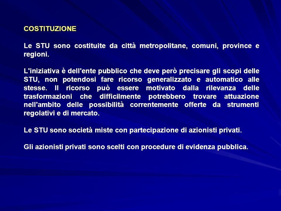 COSTITUZIONE Le STU sono costituite da città metropolitane, comuni, province e regioni.