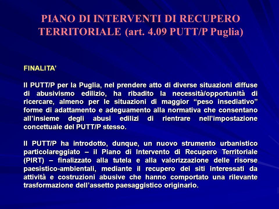 PIANO DI INTERVENTI DI RECUPERO TERRITORIALE (art. 4.09 PUTT/P Puglia)