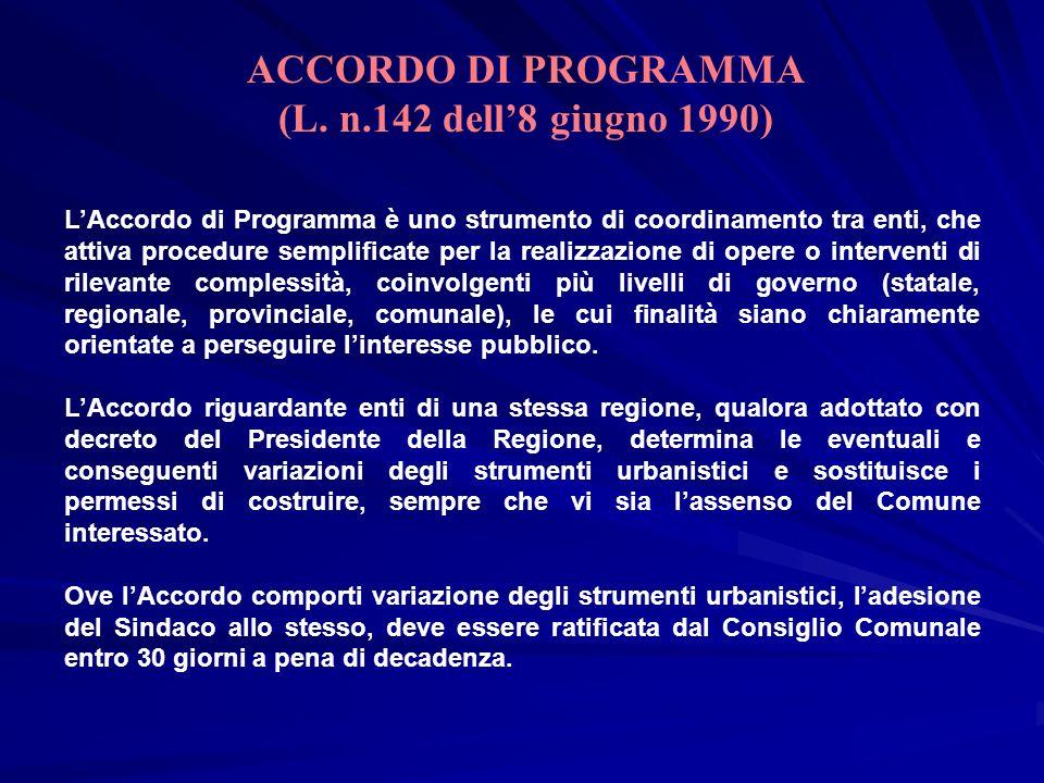 ACCORDO DI PROGRAMMA (L. n.142 dell'8 giugno 1990)