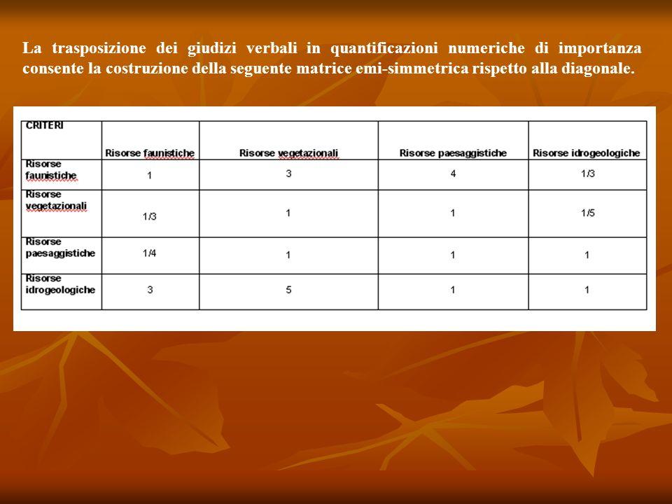 La trasposizione dei giudizi verbali in quantificazioni numeriche di importanza consente la costruzione della seguente matrice emi-simmetrica rispetto alla diagonale.