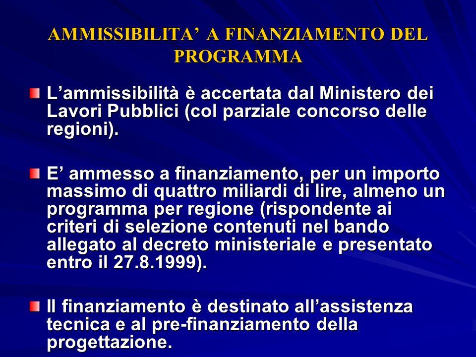AMMISSIBILITA' A FINANZIAMENTO DEL PROGRAMMA