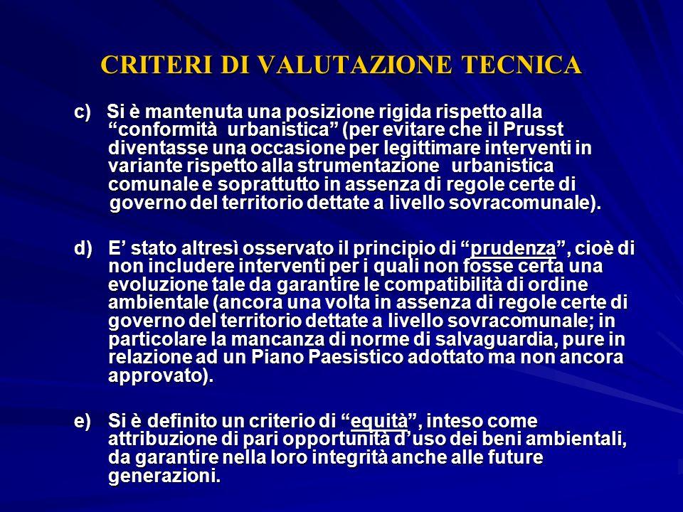 CRITERI DI VALUTAZIONE TECNICA