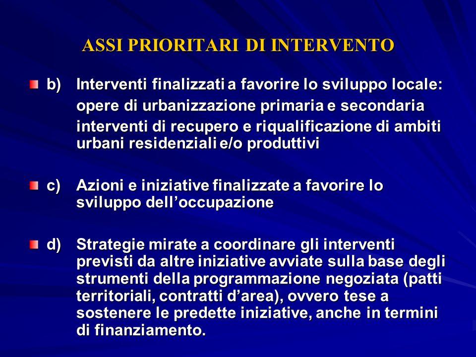 ASSI PRIORITARI DI INTERVENTO