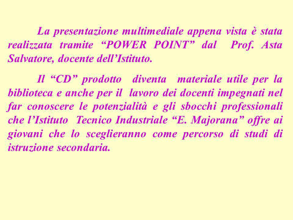 La presentazione multimediale appena vista è stata realizzata tramite POWER POINT dal Prof. Asta Salvatore, docente dell'Istituto.
