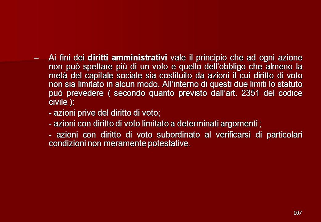 - azioni prive del diritto di voto;