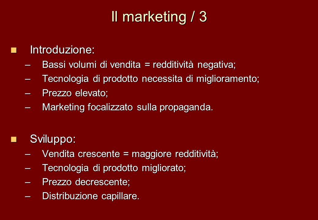 Il marketing / 3 Introduzione: Sviluppo: