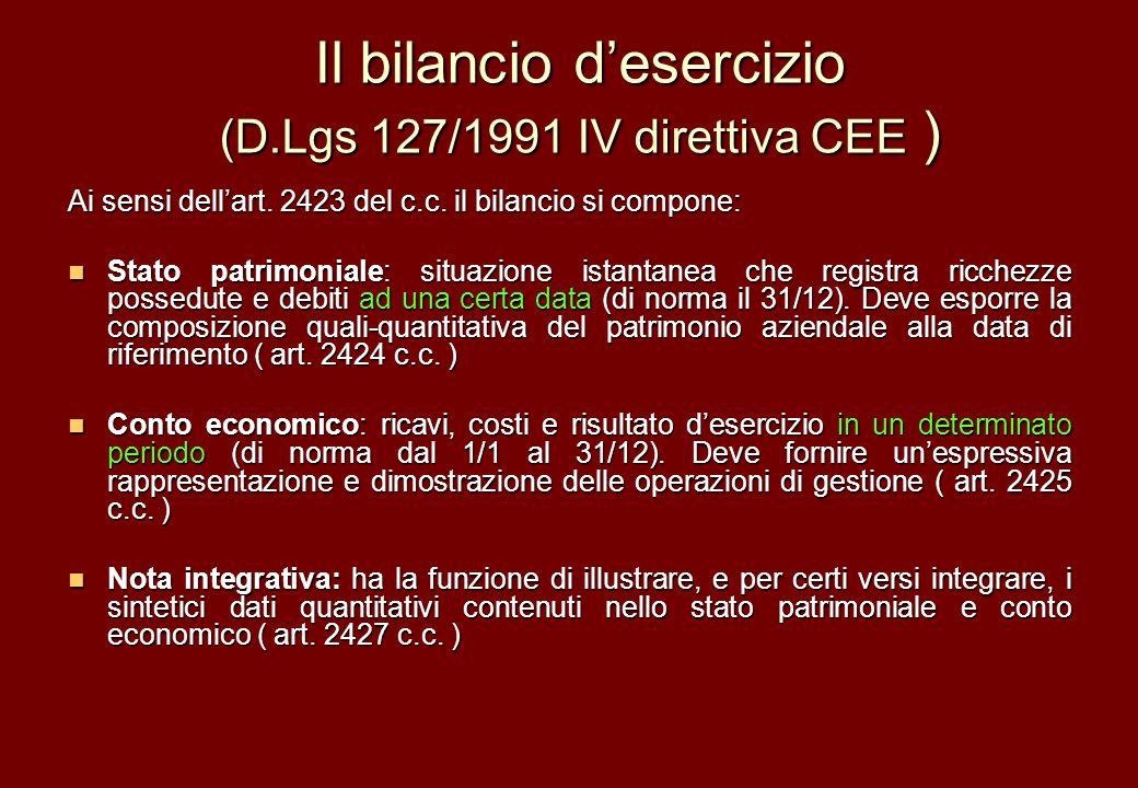 Il bilancio d'esercizio (D.Lgs 127/1991 IV direttiva CEE )