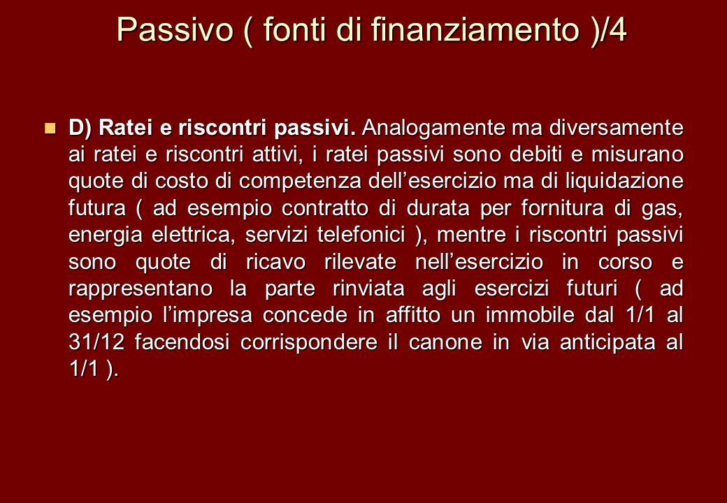 Passivo ( fonti di finanziamento )/4