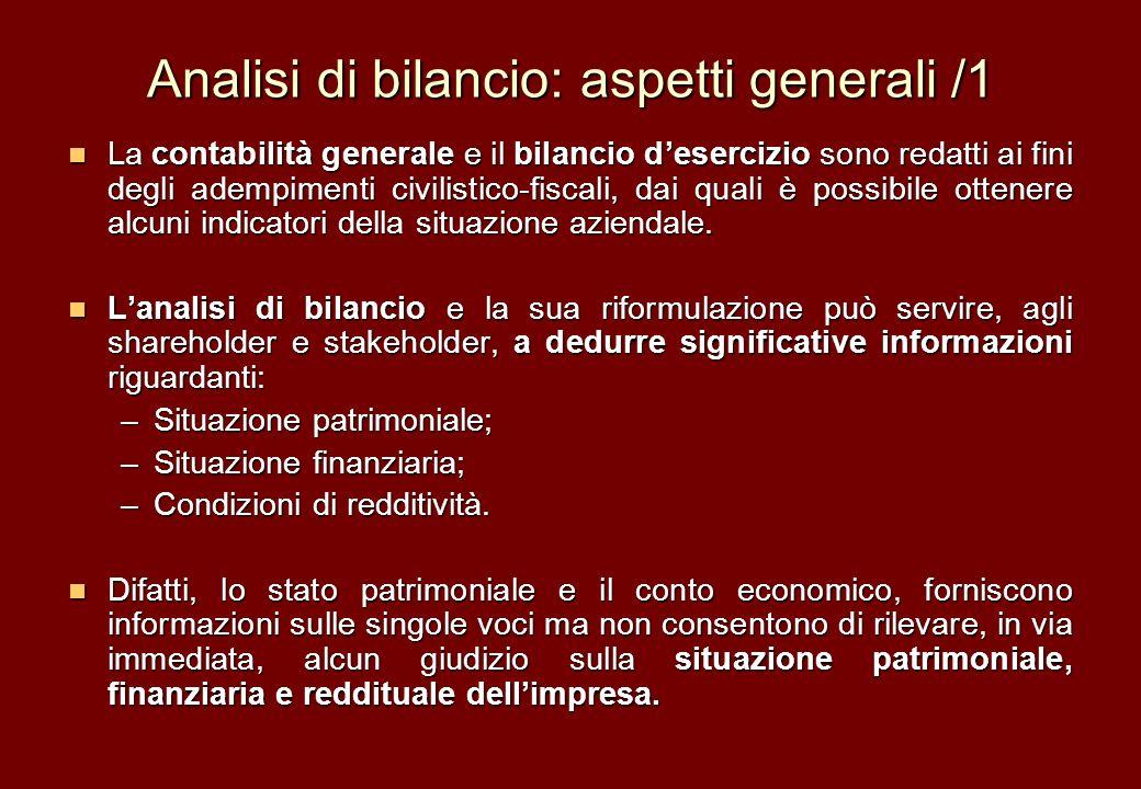 Analisi di bilancio: aspetti generali /1