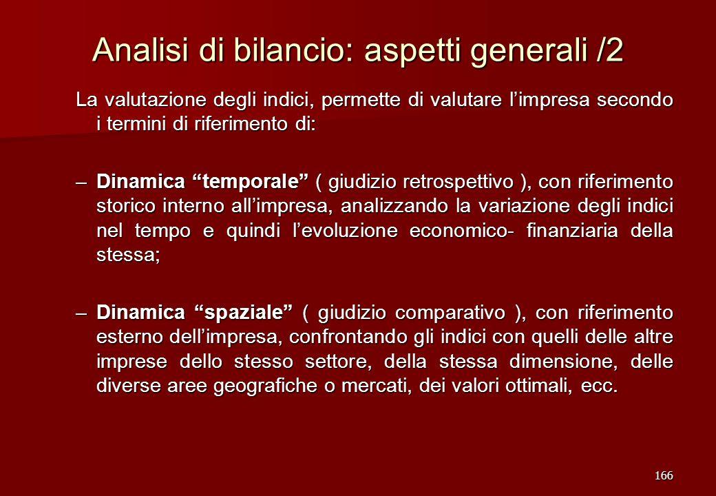Analisi di bilancio: aspetti generali /2