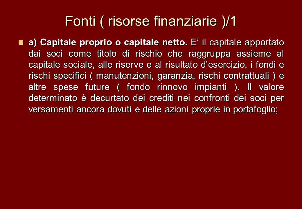Fonti ( risorse finanziarie )/1