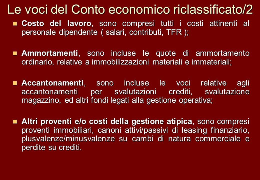 Le voci del Conto economico riclassificato/2