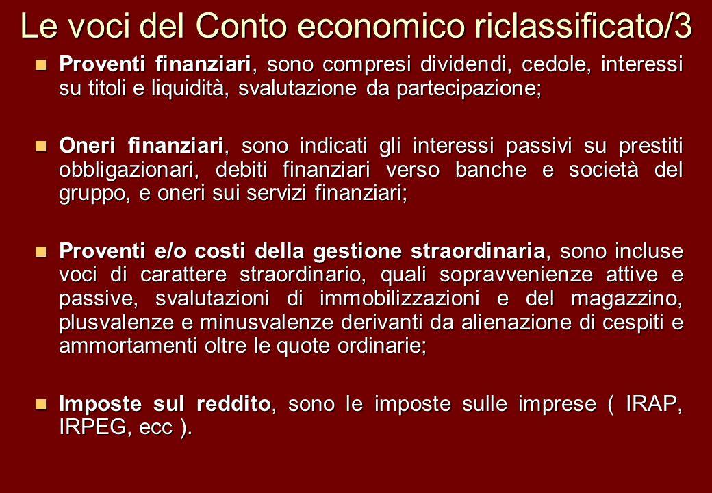 Le voci del Conto economico riclassificato/3