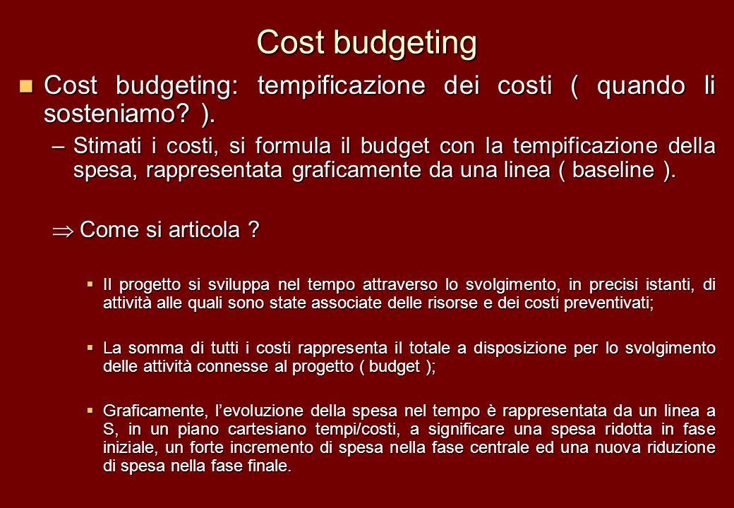 Cost budgeting Cost budgeting: tempificazione dei costi ( quando li sosteniamo ).