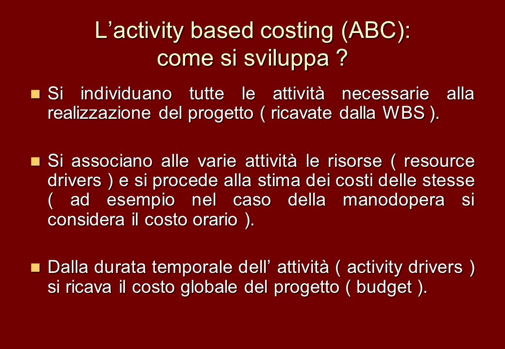 L'activity based costing (ABC): come si sviluppa